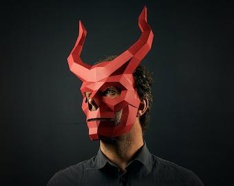 Devil's Drummer 3D Papercraft Mask Template, Horned Skull Low Poly Demon Paper Mask, Unique DIY Halloween Costume, Cosplay PDF Pattern