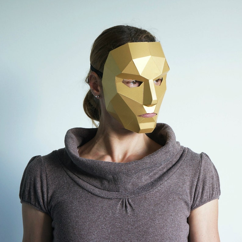 Polygon Female Face - make your own Low Poly card mask using this simple  digital download