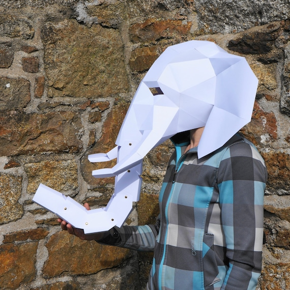 elephant mask make your own 3d low poly mask with pdf etsy