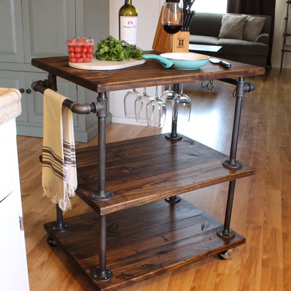 Industrial Bar Cart - Kitchen Cart - Bar Cart - Coffee Bar - Kitchen Island  - Industrial Furniture