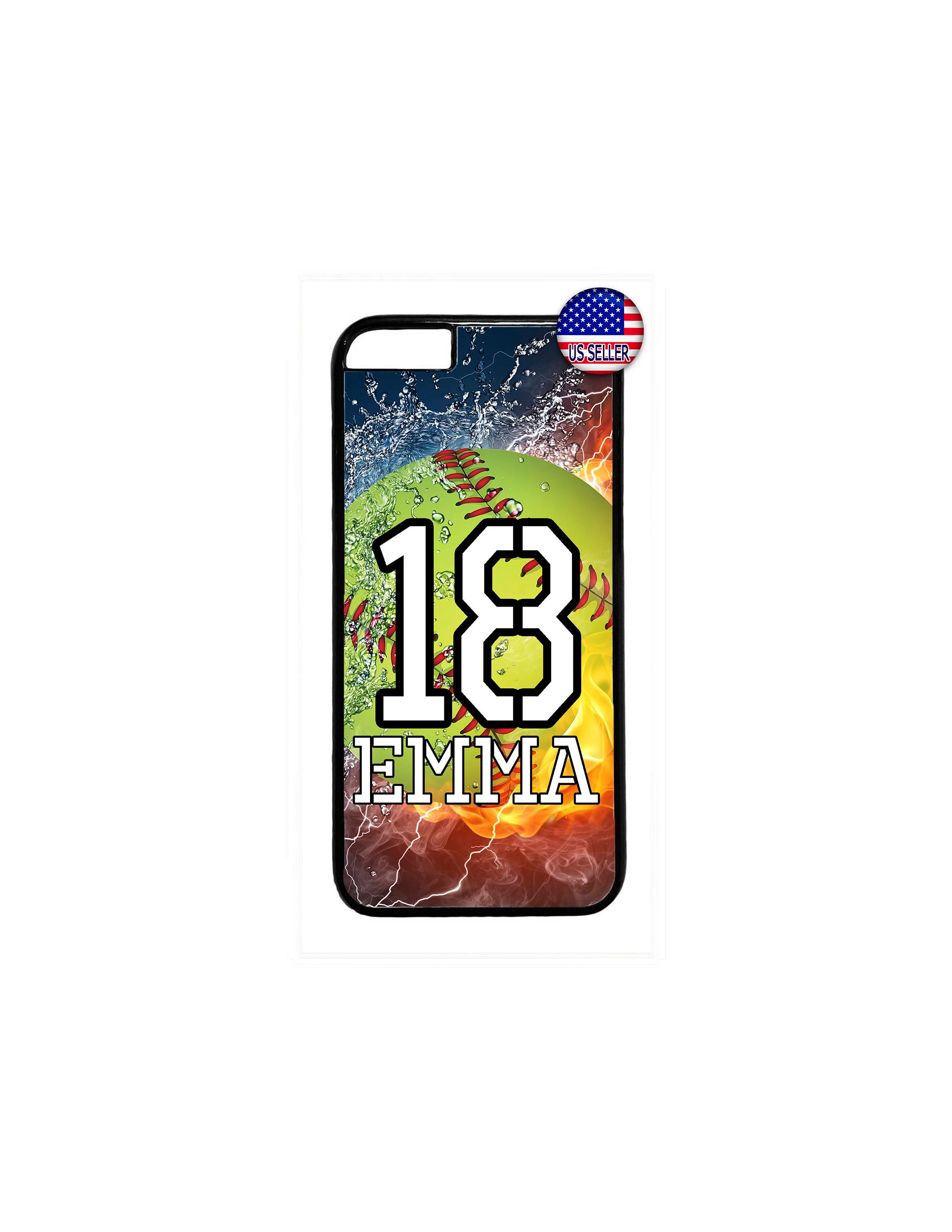 on sale 874e6 66d3c Personalized Name Number Softball Custom slim Case Cover for iPhone XS max  Xr X 8 7 6 6s PLUS 5 5s SE iPod Touch 5 6 7
