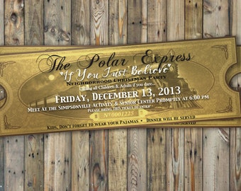 graphic relating to Printable Polar Express Tickets Boarding Passes identify Polar specific ticket Etsy