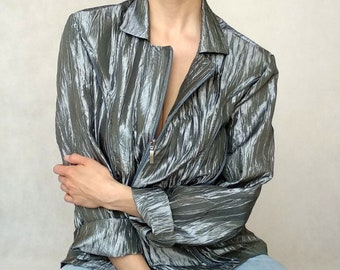 Unisex 80s 90s Metallic Shiny Jacket Hooded Coat Gold Silver Party Fancy Top