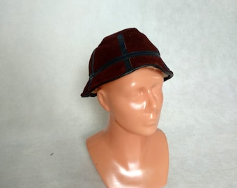bb266ad7 Brown Leather Hat, 1980s Bucket Hat, Small Bucket Cap, Leather Sheepskin Hat,  Unisex Brown Hat, Hip Hop Hat, TLC Hat, Winter Suede Hat