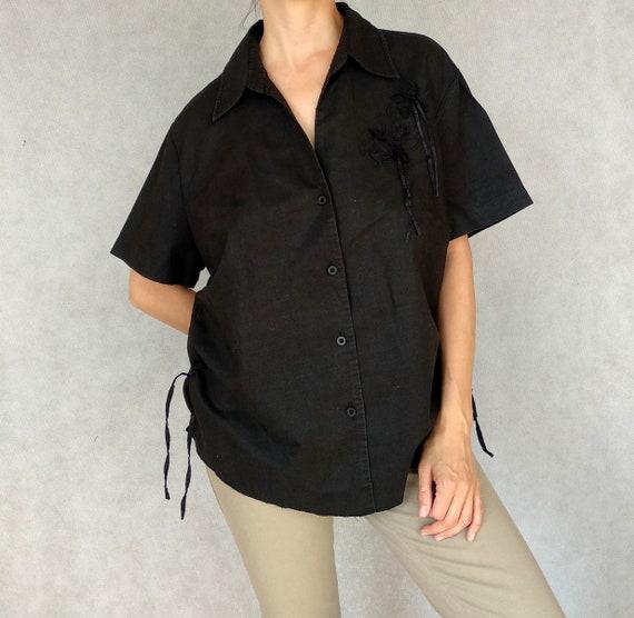 Vintage Linen Shirt, Starstyle Shirt, Black Linen