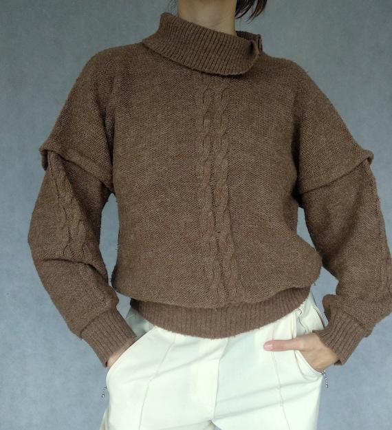 Vintage Brown Turtleneck, Small Alpaca Blend Pullo