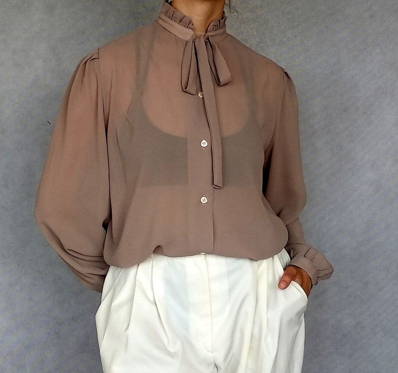 High Neck Blouse Long Sleeve Shirt Preppy Blouse Pussy Bow Blouse High Collar Shirt Brown Ascot Blouse 80 Bow Tie Blouse Khaki Blouse