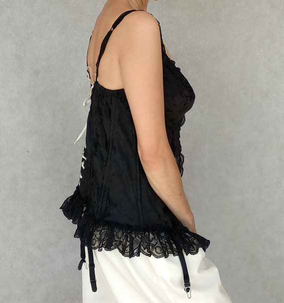Vintage Corset Top, Intimate Attitudes Corset, Bl… - image 5
