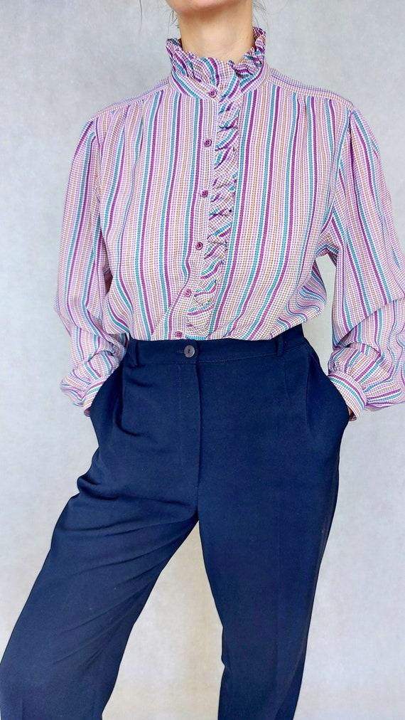 Vintage Lilac Blouse, Medium to Large Size Shirt,… - image 1