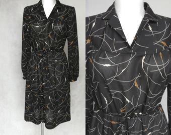 Black Floral Dress, Retro Transparent Gown, Retro Black Dress, 70s Black Dress, Short Black Dress, Small Belted Dress, Geometric Print Dress