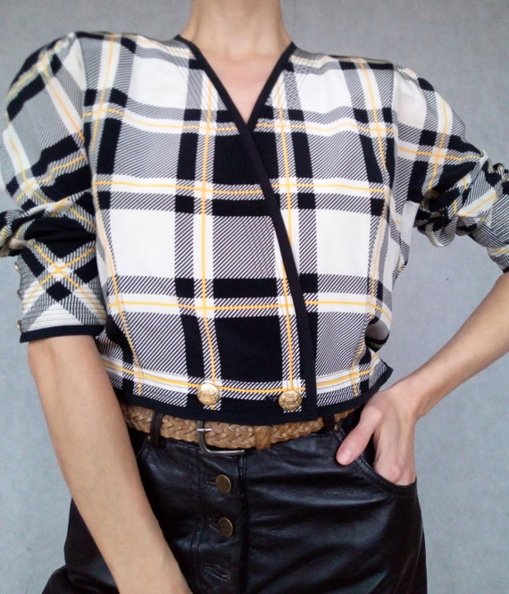 Vintage Pure Silk Crop Check Jacket, Medium Size J