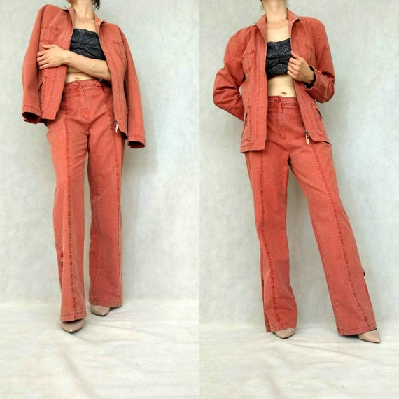 Vintage Two Piece Suit, Red Retro Pants, Cotton Pa