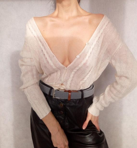Vintage 90s Cream Wool Blend Ribbed Cardigan, Smal