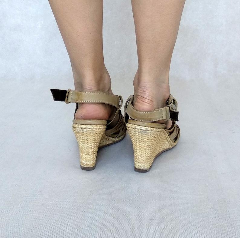 Woven Wedges Ankle Strap Heels Nude Strappy High Heels 90s Beige Shoes EUR 40  UK 6,5  US 9 Vintage Belmondo Shoes
