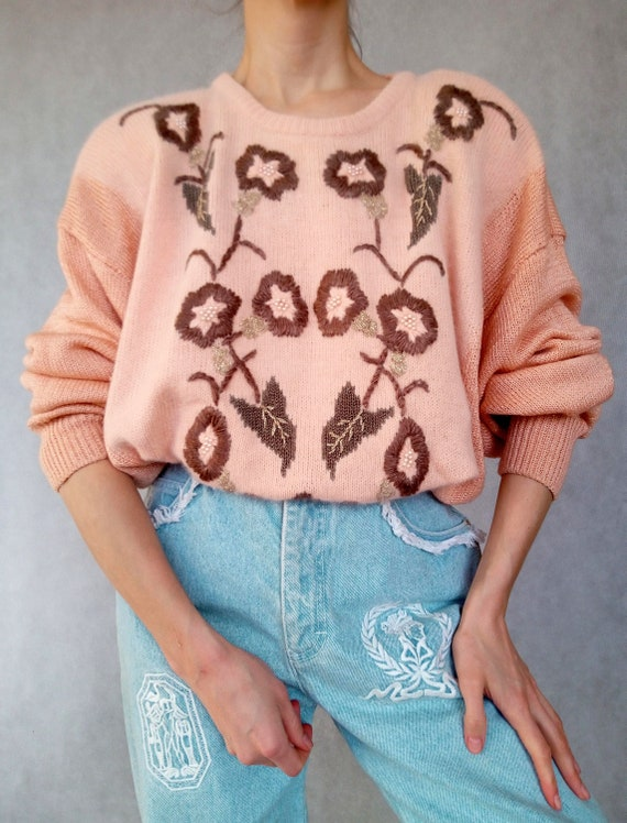 Vintage Pink Knitted Pullover, Long Sleeve Sweater