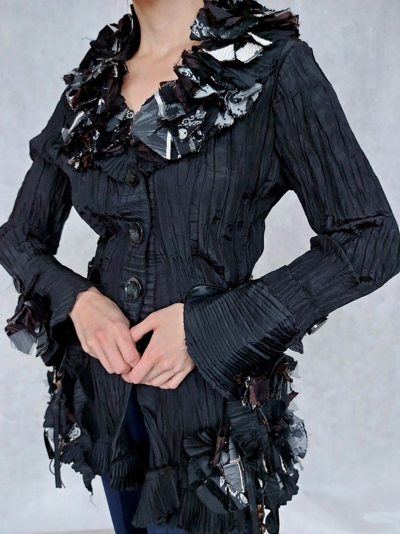 Vintage Black Micro Pleat Steampunk Jacket Black Button Up Blazer Small Size Blazer Small Fitted Jacket