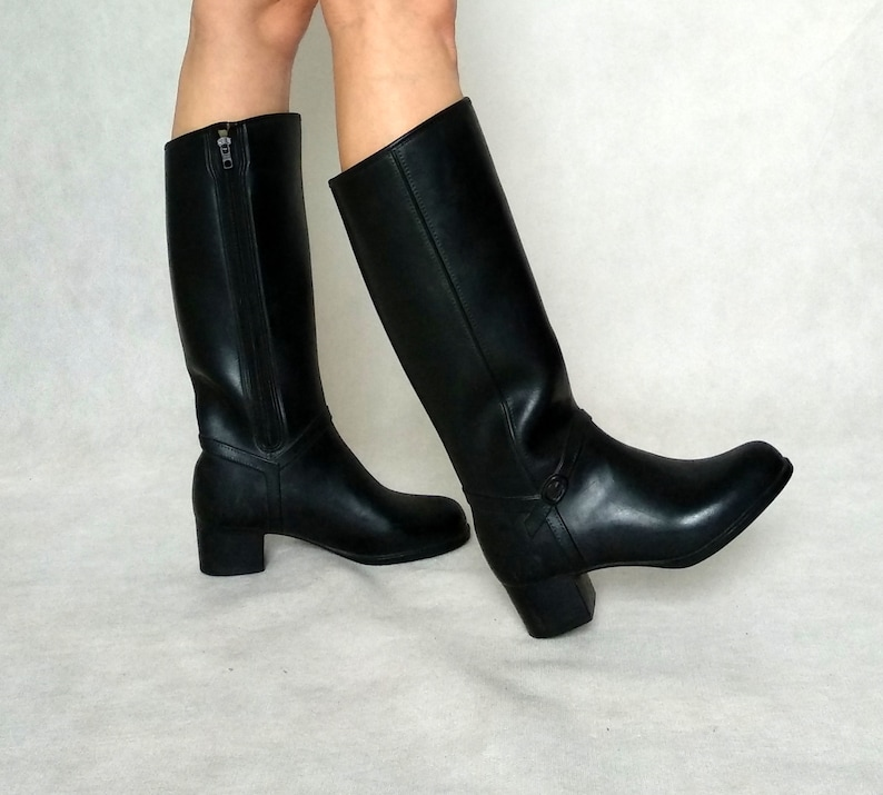6e97916a734be Vintage Rubber Boots, 80s Rain Shoes, Black Heels, French Vintage, Chunky  Heels, EUR 36 / UK 3 / US 5, Retro Wellies, Warm Rain Boots