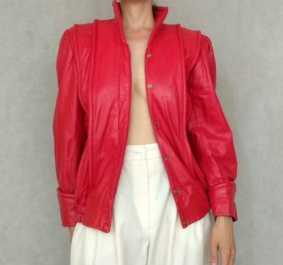 Vintage Red Jacket, Leather Red Jacket, Medium Bom