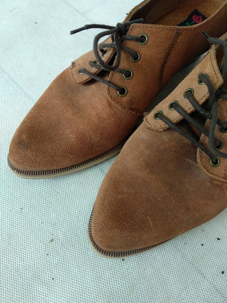 Leather Chunky Heel Italian Vintage Valentina Shoes Vintage Suede Lace Ups US 7.5 Brown Heeled Shoes EUR 38 UK 5