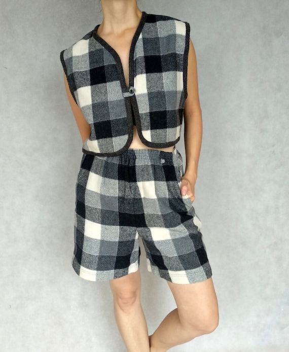 Vintage Two Piece Suit, Checkered Retro Suit, Gray