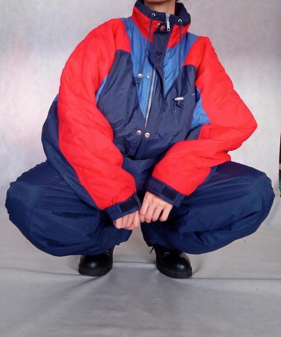 Vintage Men Ski Suit, Color Block Snow Suit, Snowb