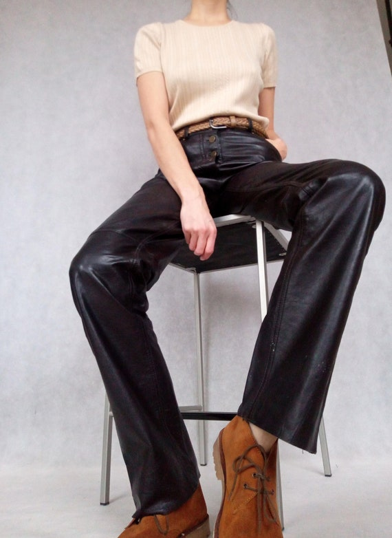 Vintage Leather Pants, Brown Leather Pants, Small