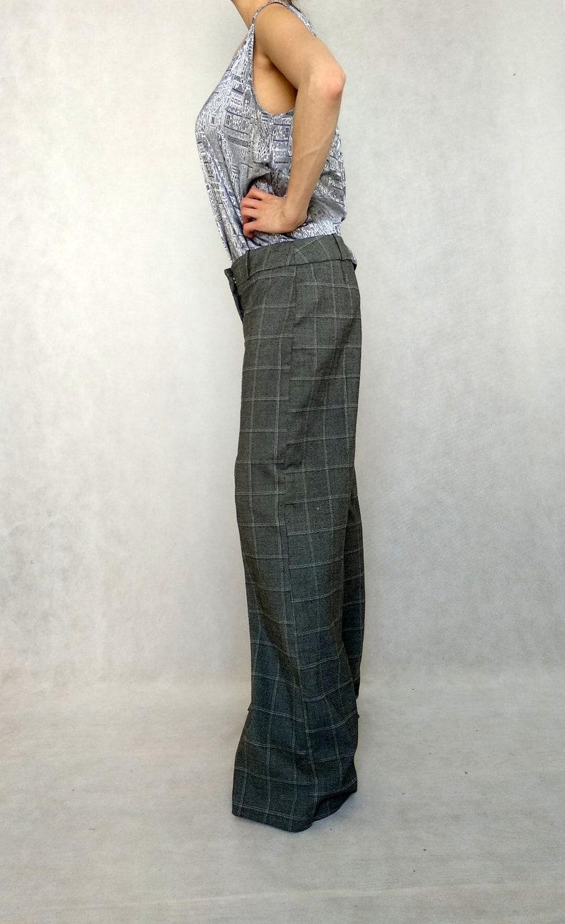 Pants with Pockets Low Waist Pants Womens Office Pants Large Palazzo Trousers Vintage Gray Slacks Gray Dress Pants Wide Leg Slacks