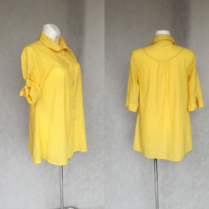 Pregnancy Shirt Nursing Shirt Button Down Shirt Loose Fitting Blouse Retro Yellow Shirt Long Sleeve Blouse Pregnant Fashion