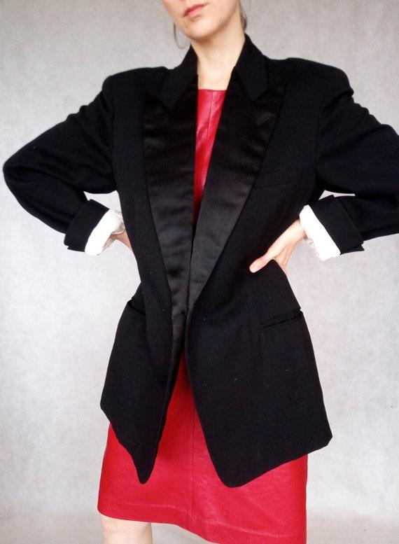 Vintage Tuxedo Jacket, Black Tuxedo Jacket, Large