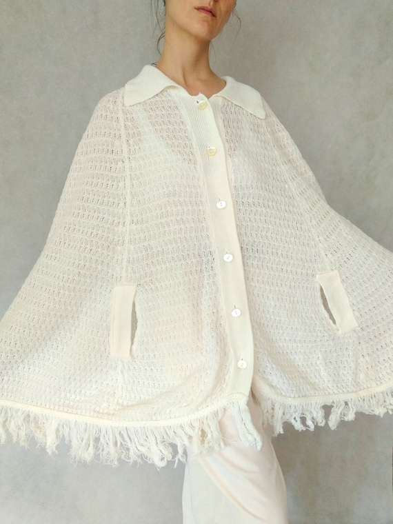 Vintage Cream Cape Shirt, 60s Knitted Poncho, Frin