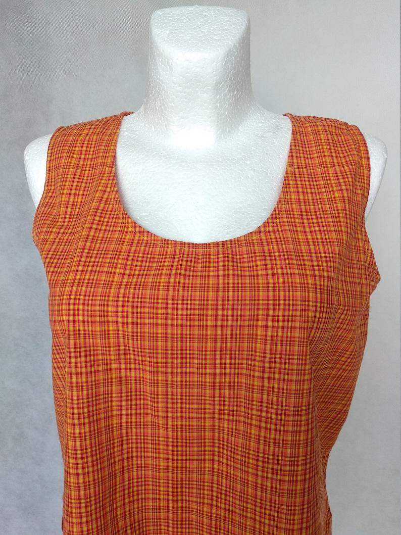 Vintage Orange Top 80s Maternity Blouse Sleeveless Top Medium Vest Top Pregnancy Blouse Loose Vest Top Retro Viscose Top