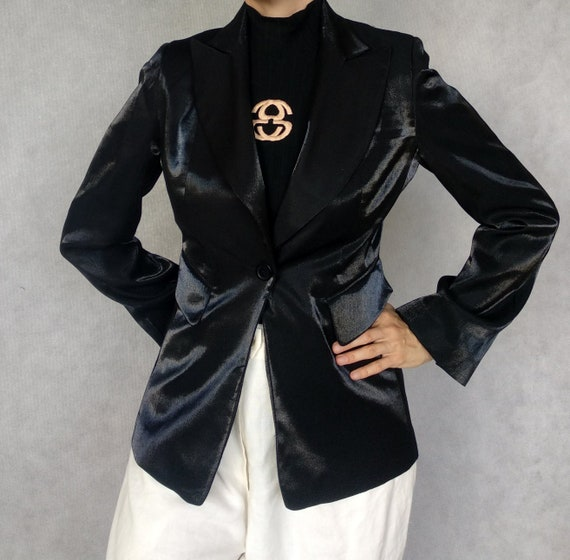 Vintage Iridescent Jacket, Black Blazer, Long Slee