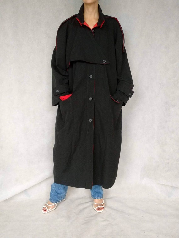 Vintage Black and Red Trench Coat, Pabia Coat, Med