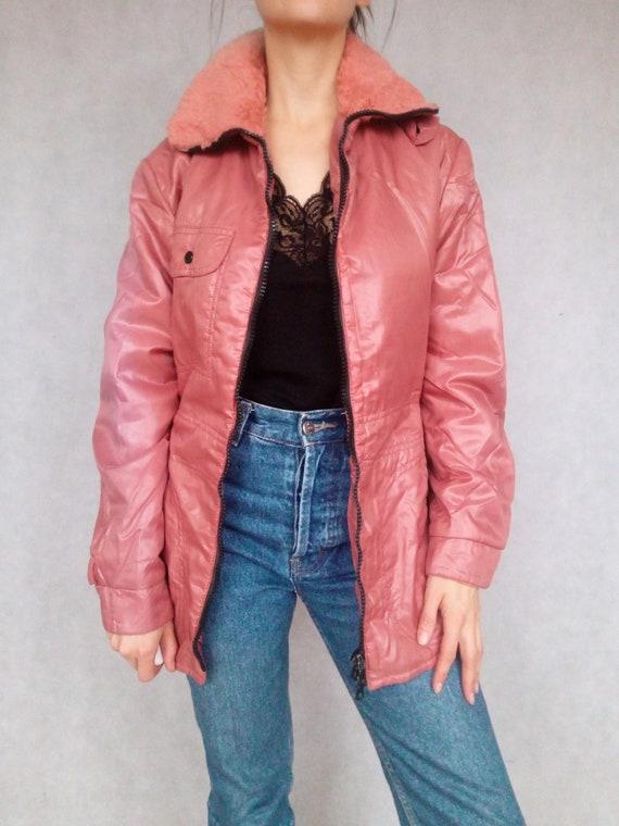 Vintage 1980s Pink Winter Parka, 80s Puffer Jacket