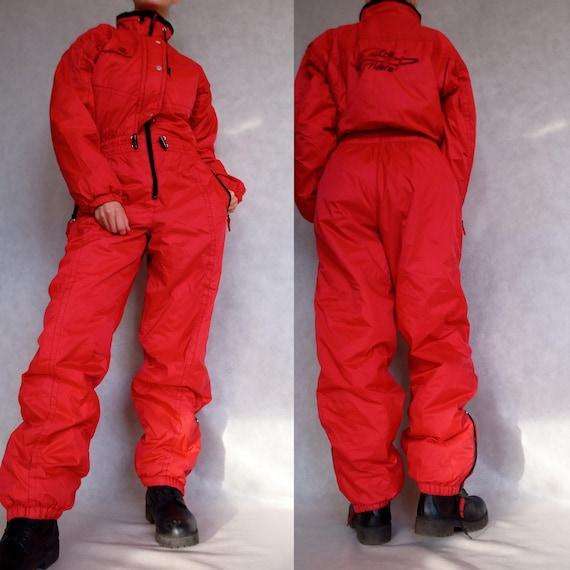 Vintage Ski Suit, Red Snow Suit, Snowboarding Suit