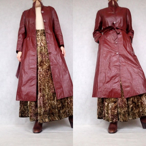 Vintage Dark Brown Leather Trench Coat, Lined Tren