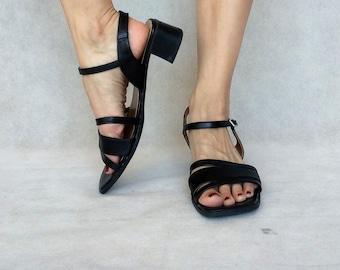 Vintage Lanoernas Shoes, 90s Black Shoes, Ankle Strap Heels, Black Strappy High Heels, Chunky Heels, EUR 40 / UK 6.5 / US 9