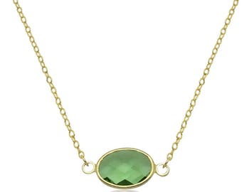 Peridot pendant necklace, August birthstone peridot necklace, Birthday gift for wife Uk, Peridot birthstone jewelry, Delicate gold necklace,