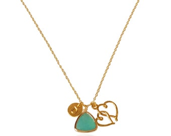 Aquamarine Pendant Necklace, Heart Necklace, Birthstone Womens Necklace, Necklace for Girlfriend, Gifts for mom, Initial Name Gold jewellery
