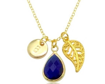 Midnight blue teardrop crystal pendant necklace, Personalised gold initial charms necklace, Delicate monogram necklace, Glass gems necklace