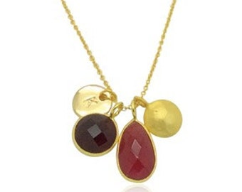 Rot Onyx und 18K Gold Halskette, Dunkel Weinrot Chalcedon-Edelstein-Halskette, Gold und Edelsteinhalskette, Geschenke für Mama, Muttertagesgeschenke