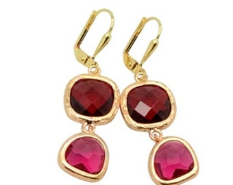 Ruby red and plum magenta crystal gems earrings, July birthstone jewellery birthday gift, Rose gold and glass gems drop earrings, Wife gift