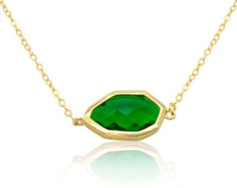 Emerald May birthstone pendant gold necklace, Irregular green geometric gem pendant necklace, Minimalist delicate necklace,18K gold necklace