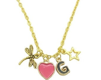 Cluster Pendants Necklace for Women, Pink Heart  Necklace, Name Initial Necklace, Star Pendant Gold Chain necklace, Necklace for Girl Friend