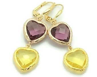 Amethyst and Citrine Crystal Hearts Statement Earrings, Yellow Gold Crystal Drop Earrings, Purple Crystal Earrings, Gold Crystal Earrings