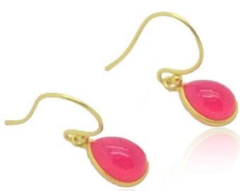 Rosa Chalcedon, Fuchsia rosa Edelsteinohrringe, zierliche Ohrringe, 18 k gold Ohrringe, Abschluss Geschenke für sie, beste Freundin Geschenke