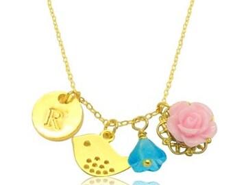 Monogram pink aqua flower cluster pendants necklace, Valentine gift for girlfriend, Shabby chic monigram initial necklace,Graduation gift