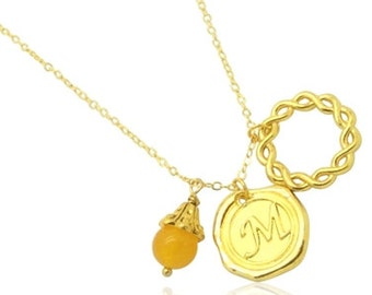 Cluster pendant monogram necklace, Name initial gold necklace for girlfriend, Womens necklace with initials, Golden yellow gemstone necklace