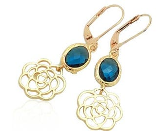 Sapphire rose gold earrings, Sapphire birthstone earrings, Blue stone earrings, September birthstone jewelry, Bridesmaids flower earrings