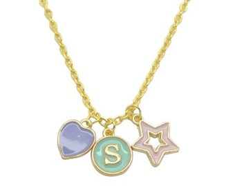 Lilac and pink charms gold necklace, Aqua monogram initial pendant necklace, Pastel colour cluster charms necklace, Mother daughter necklace